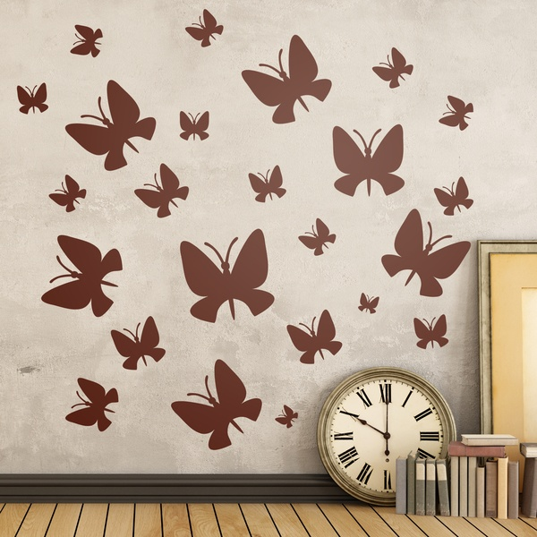 Stickers muraux: Kit 24 papillons