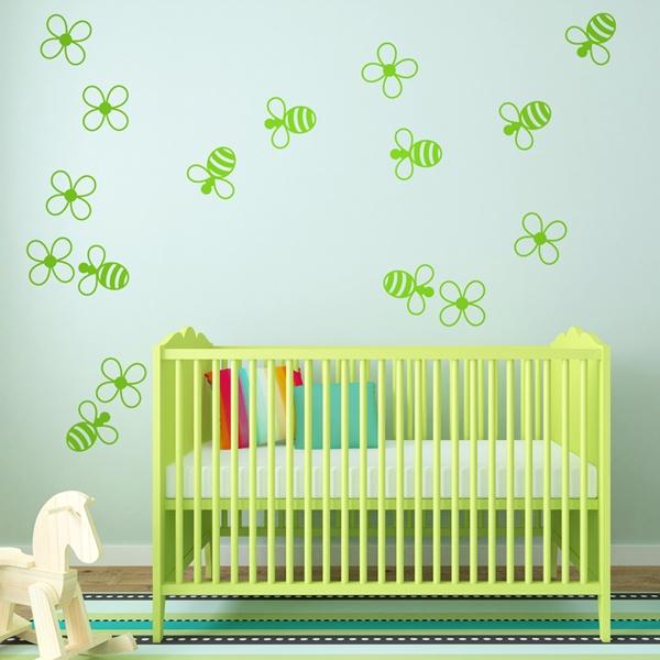 Stickers pour enfants: abeilles et les fleurs