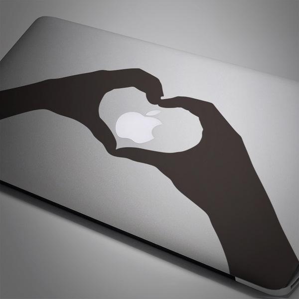 Autocollants: Silhouette mains coeur