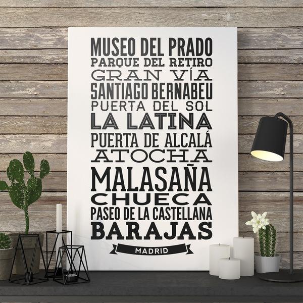 Stickers muraux: Typographique des rues de Madrid