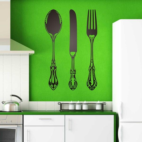 Stickers muraux: Cuillère, fourchette et couteau