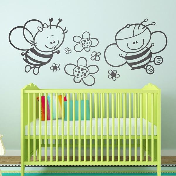 Stickers pour enfants: Bee avec des fleurs