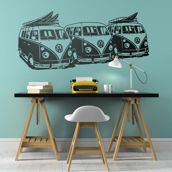Stickers muraux: 3 Volkswagen Surf Vans