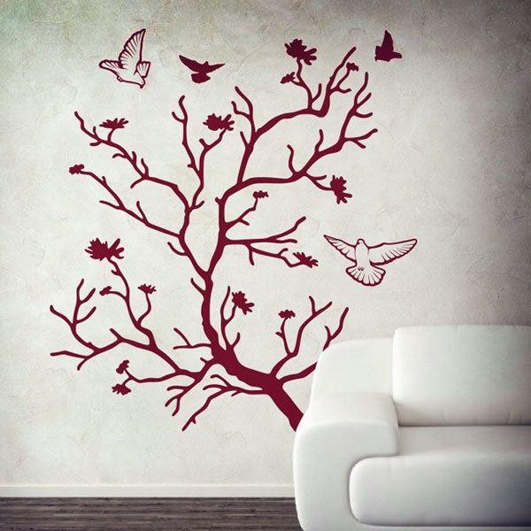 Stickers muraux: Arbre et pigeons