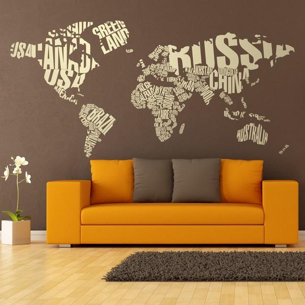 Stickers muraux: Carte du monde typographique
