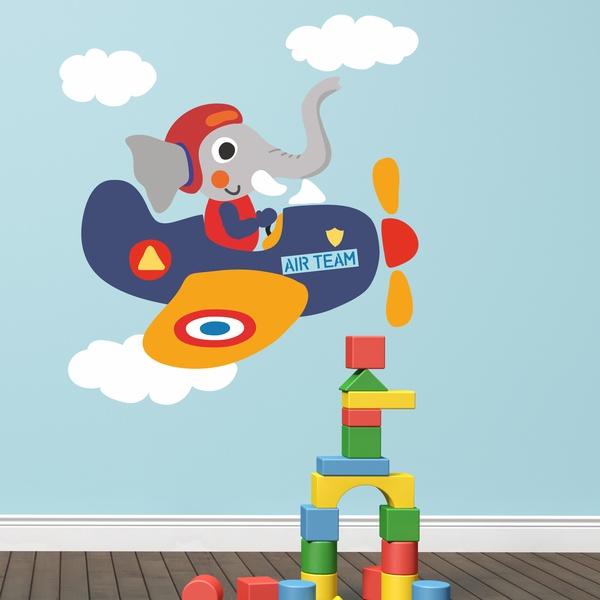 Stickers pour enfants: Elephant pilote d