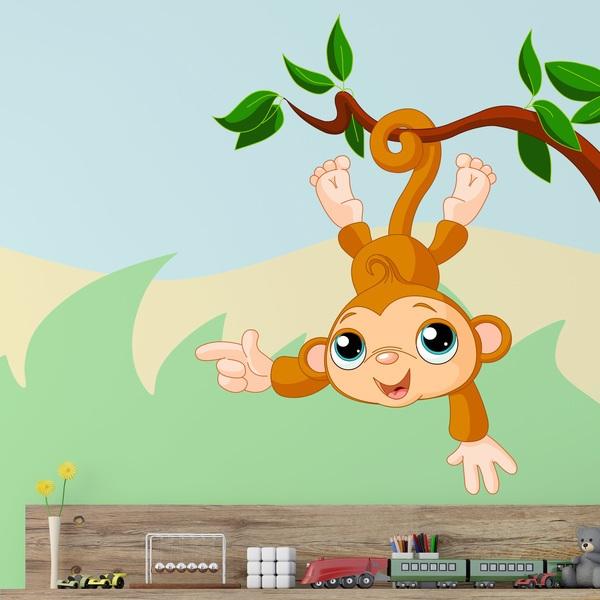 Stickers pour enfants: Singe pendu à la branche