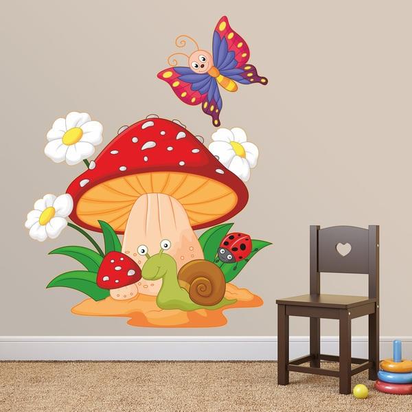 Stickers pour enfants: Champignon, marguerites, escargot et le papillon