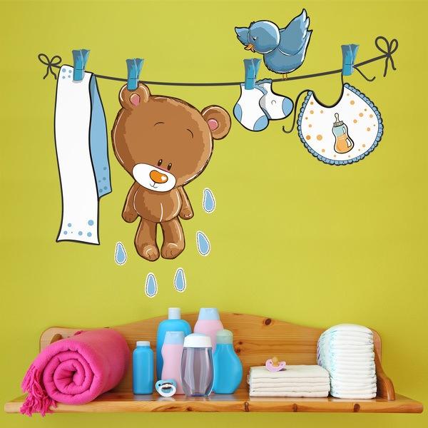 Stickers pour enfants: Ours et oiseau sur la corde à linge