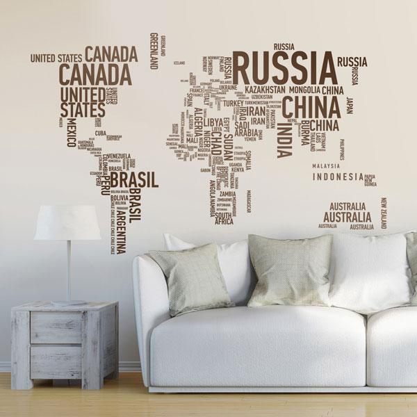 Stickers muraux: Carte typographique du monde