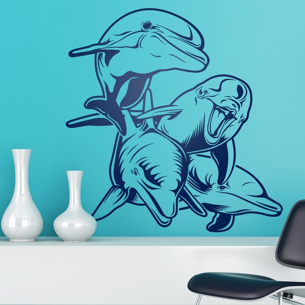 Stickers muraux: 4 Dauphins fonds marins