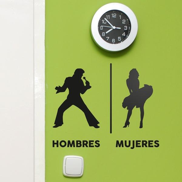 Stickers muraux: Elvis signe Marilyn toilet espagnol