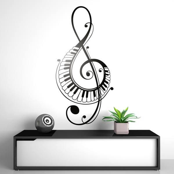 Stickers muraux: En clé de sol avec des touches de piano