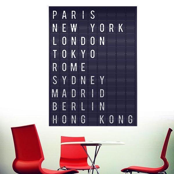 Stickers muraux: villes de l aéroport panneau