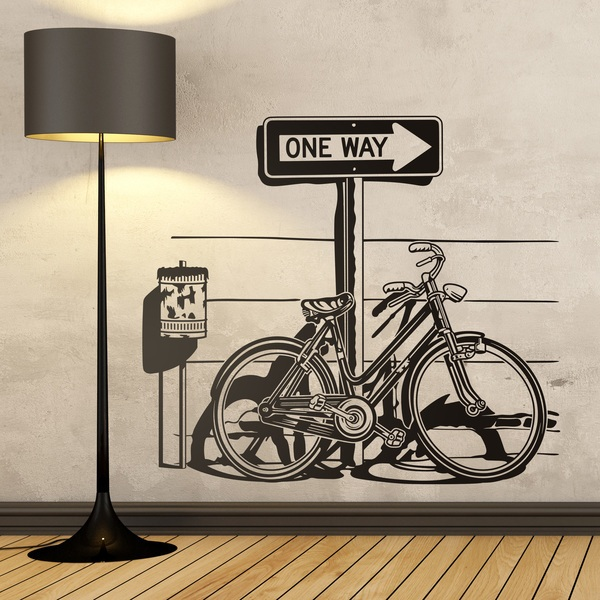 Stickers muraux: Vélo vintage sur panneau de signalisation One Way