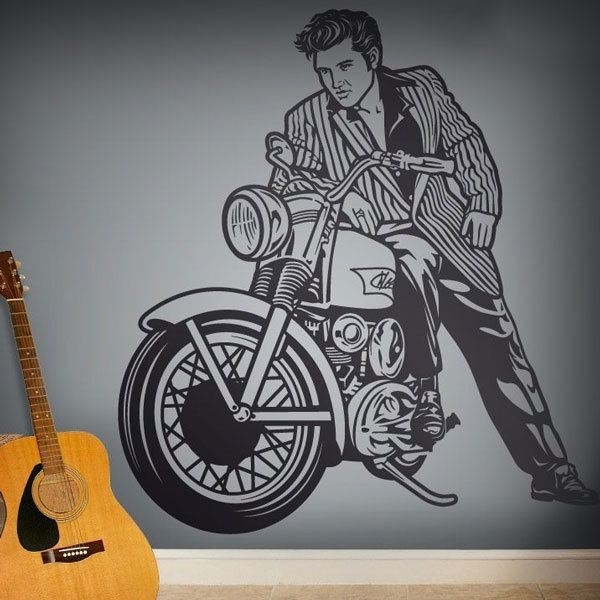 Stickers muraux: Elvis Presley et moto
