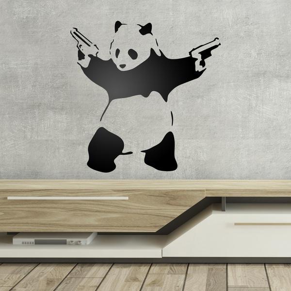Stickers muraux: Banksy Panda armé