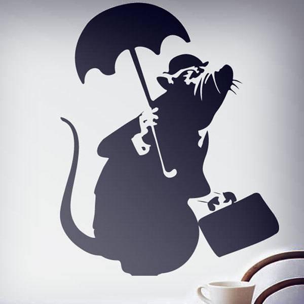 Stickers muraux: Rat avec le parapluie par Banksy