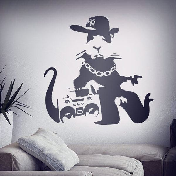 stickers muraux banksy. Black Bedroom Furniture Sets. Home Design Ideas