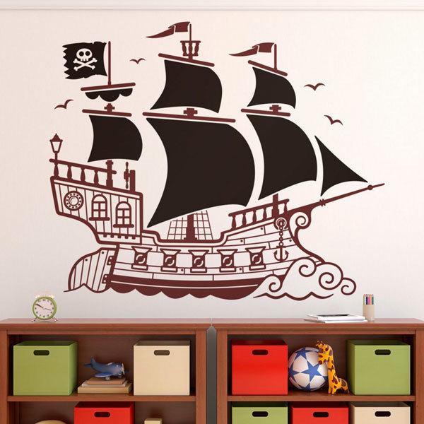 Stickers pour enfants: Grand Bateau Pirate