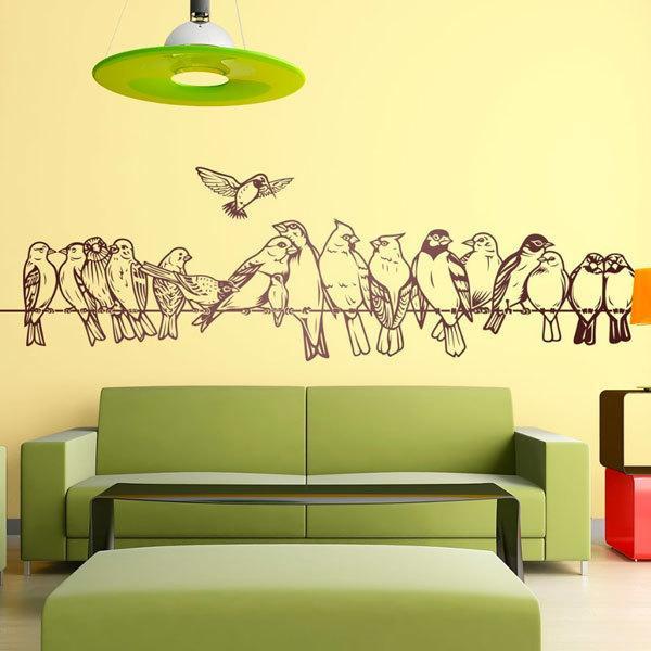 Stickers muraux: Oiseaux sur le fil