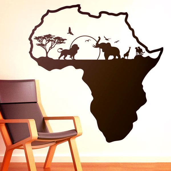Stickers muraux: Afrique animals silhouette horizon
