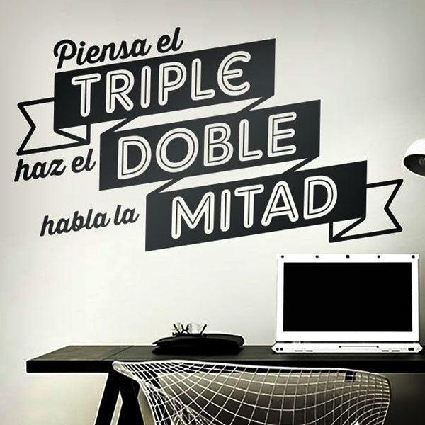 Stickers muraux: Piensa el triple, haz el doble, habla la mitad