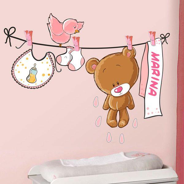 Stickers pour enfants: Custom bear on the clothesline rose