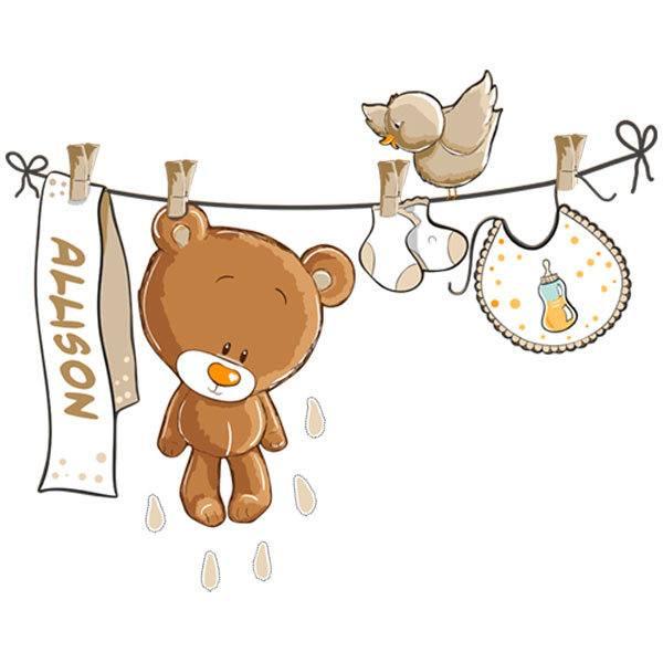 Stickers pour enfants: Ours sur la corde à linge neutre avec nom