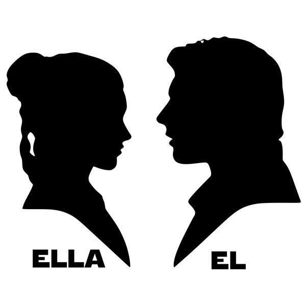 Stickers muraux: Leia et Han Solo Toilette signalisation