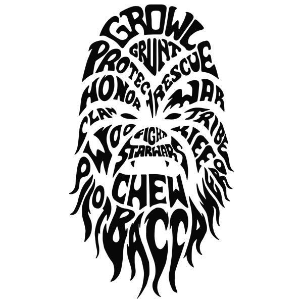 Stickers muraux: Typographique Chewbacca