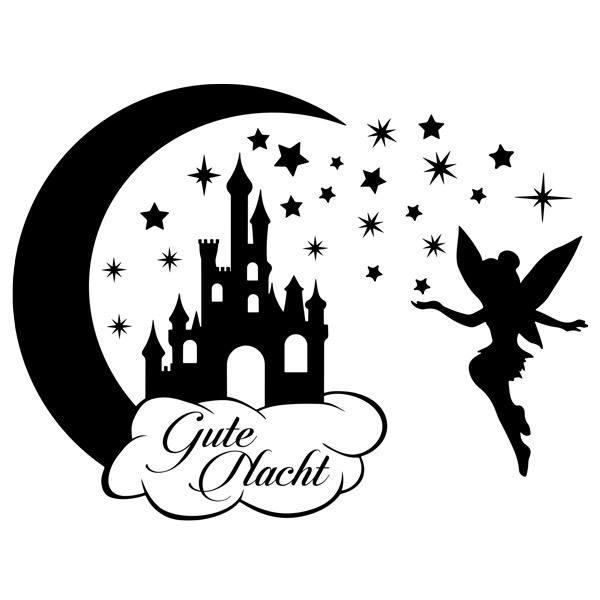 Stickers pour enfants: Château, étoiles et Tinkerbell Gute Nacht