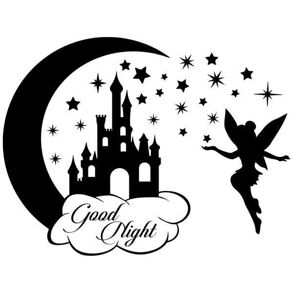 Stickers pour enfants: Château, étoiles et Tinkerbell Good Night