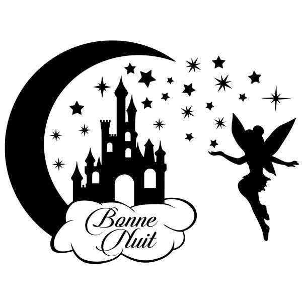 Stickers pour enfants: Château, étoiles et Tinkerbell Bonne Nuit