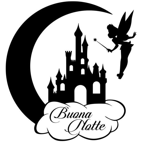 Stickers pour enfants: Fée Clochette, Château et de la Lune Buona Notte