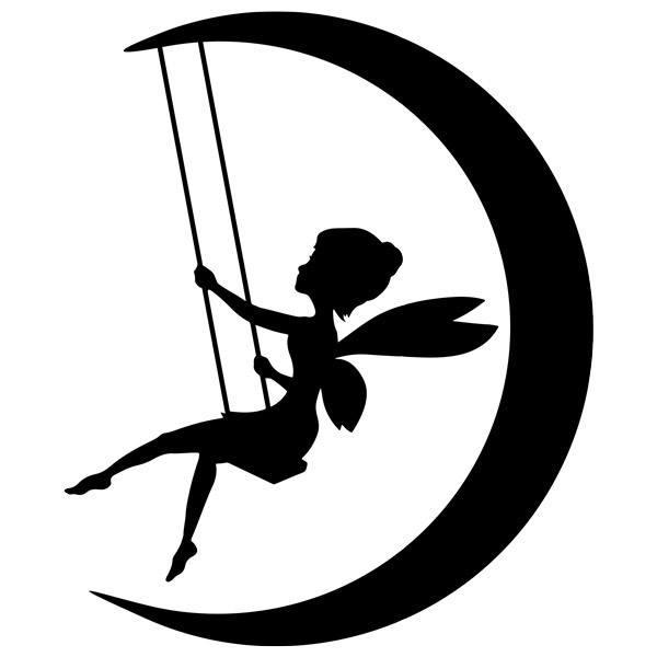 Stickers pour enfants: La fée Clochette balancer sur la lune