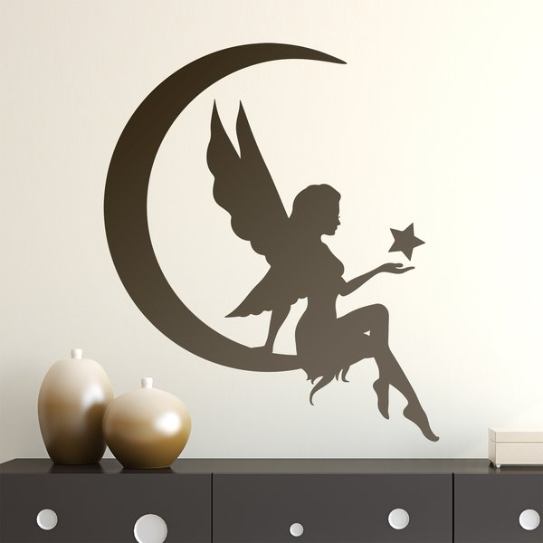 Stickers pour enfants: Fée sur la lune avec étoile