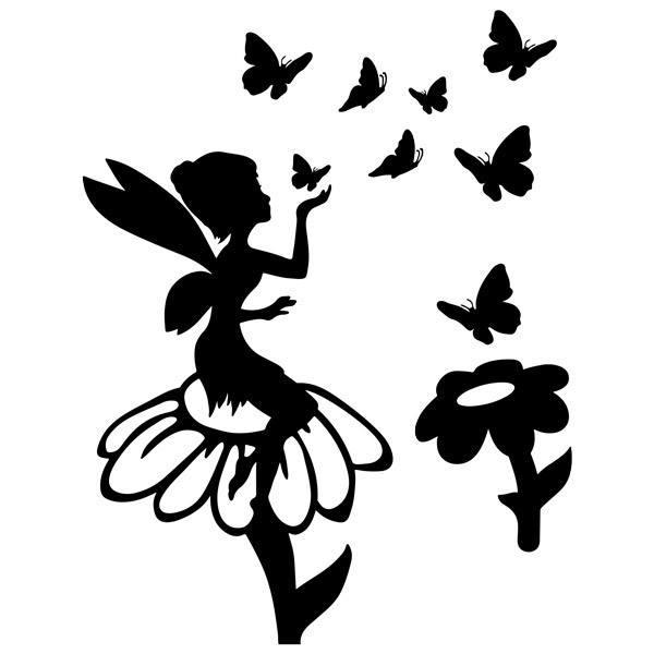 Stickers pour enfants: Tinkerbell, fleurs et papillons