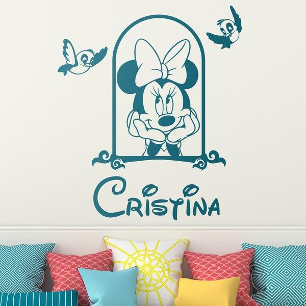 Stickers pour enfants: Minnie Mouse dans la fenêtre et les oiseaux