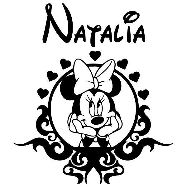 Stickers pour enfants: Cadre Minnie Mouse et nommé