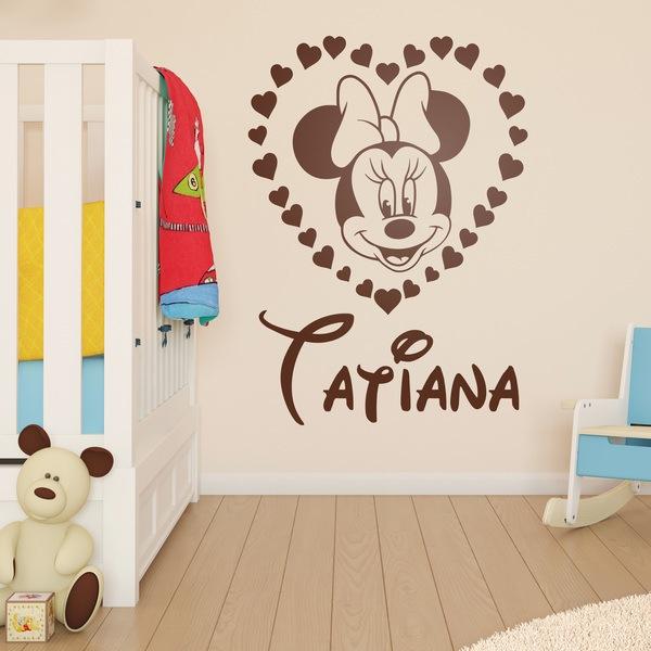 Stickers pour enfants: Minnie Mouse Coeur avec nom 2