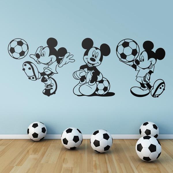 Stickers pour enfants: Triptyque Mickey Mouse Footballeur