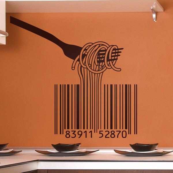 Stickers muraux: Fork, spaghetti et codes à barres