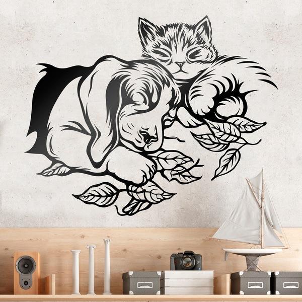 Stickers muraux: Chien et chat dormir