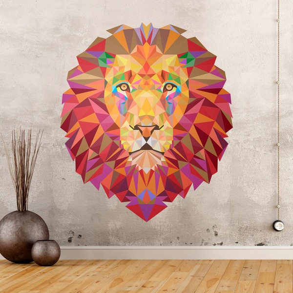 sticker mural t te de lion origami. Black Bedroom Furniture Sets. Home Design Ideas