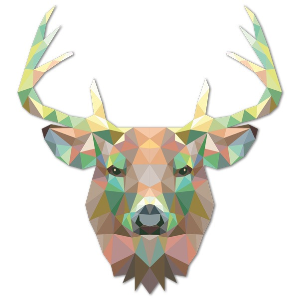 Stickers muraux: Tête de cerf origami