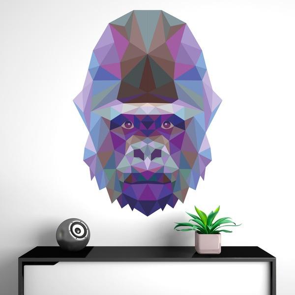 Stickers muraux: Tête de gorille origami