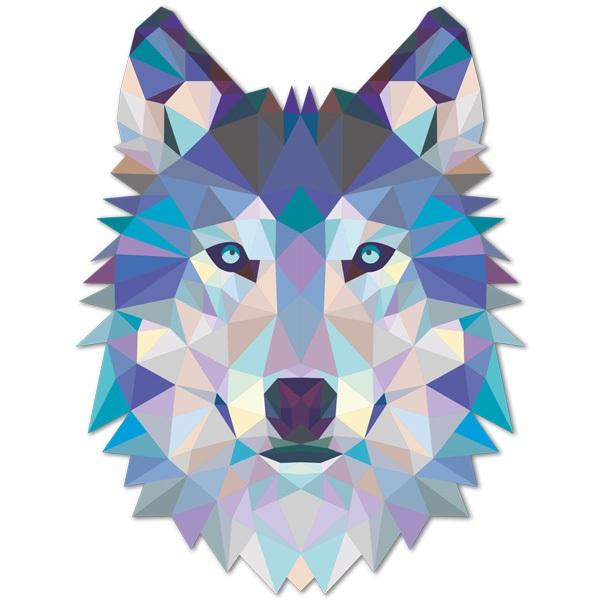 Stickers muraux: Tête loup origami