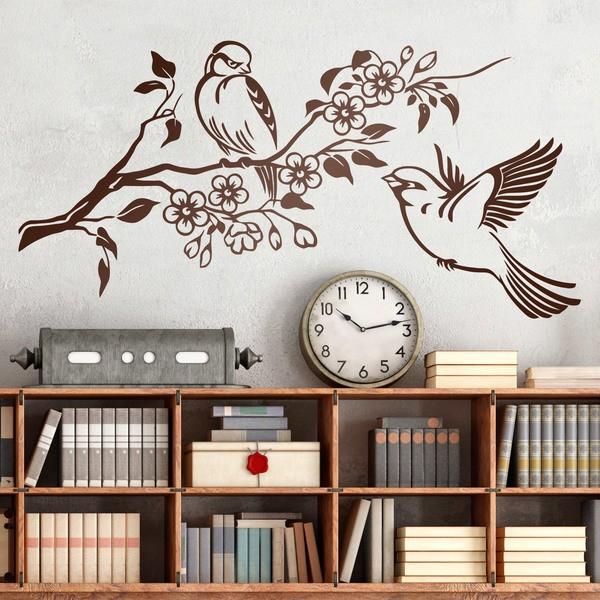 Stickers muraux: Paire d'oiseaux sur la branche et des fleurs