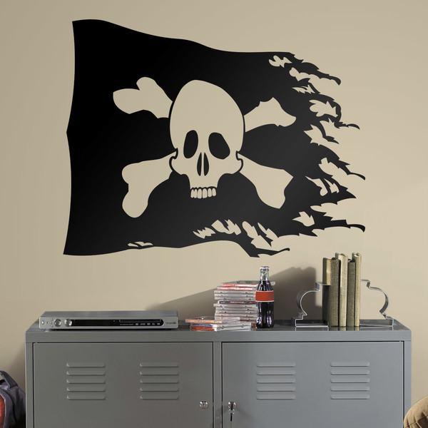 Stickers pour enfants: Drapeau pirate porté
